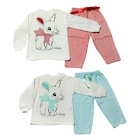 Tavşan Baskılı Kız Bebek Pijama Takımı