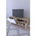 Platin 120cm TV Ünitesi Meşe Gövde Beyaz Kapak TV Sehpası