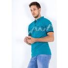Baskılı Yakalı Erkek Tişört TURKUAZ - WN2574