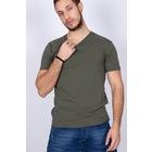 Mylife V Yaka Erkek Likralı Basic Tişört HAKİ