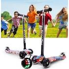 HEDİYELİ- Led Işıklı 3 Tekerlekli, DESENLİ Frenli, Çocuk Scooterı