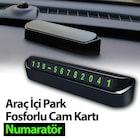 Araç İçi Park Telefon Numarası Fosforlu Numaratör Oto Cam Kartı