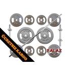 60 KG Demir Döküm Halter Dambıl Set + 2 Kısa 120 U Barlı