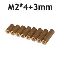 M2 x 4mm Pirinç Aralayıcı Distans Spacer - Dişi - Dişi M2*4+3mm