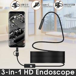 Endoskop 3 in 1 Yılan Kamera USB Micro Usb Type-C 5M Sert Kablo