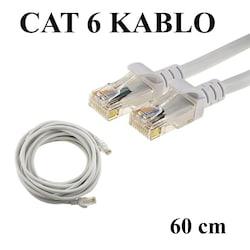 CAT 6 Patc Ethernet Kablo 23AWG Fabrikasyon - 60 cm - Gri