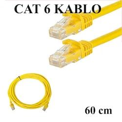 CAT 6 Patc Ethernet Kablo 23AWG Fabrikasyon - 60 cm - Sarı