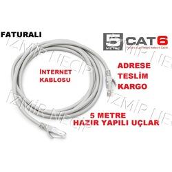 HAZIR JAKLI İNTERNET KABLOSU BİLGİSAYAR MODEM ARASI  CAT6 5 METRE
