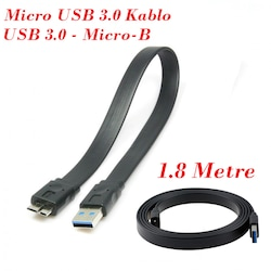 USB 3.0 Micro B Flat Veri ve Şarj Kablosu (Siyah) - 1.8 Metre