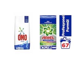Omo Active Kusursuz Leke Çıkarma 10 KG + Ariel Profesyonel Parlak Renkler 10 KG
