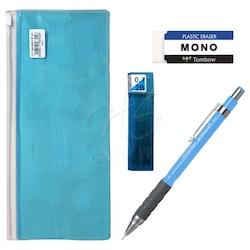 Tombow SH300 Grip Mekanik Uçlu Kalem 0.7mm Kalemlikli Set Mavi