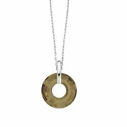 Swarovski® 6039 Bronze Shade Disk Gümüş Kolye
