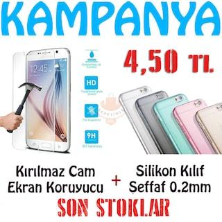 Silikon Kılıf + Temperli Cam Ekran Koruyucu 4,50 TL