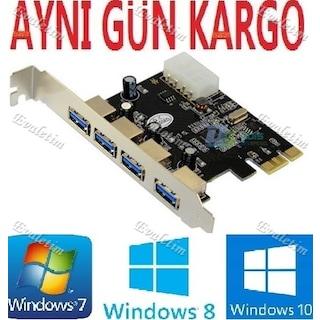 PCI EXPRESS PCI-E USB 3.0 KART 4538a PCIE 4 PORT ÇOKLU  ÇOKLAYICI