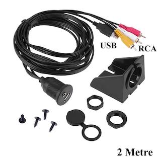 3.5mm/RCA + USB Ses&Görüntü Panel Montaj Uzatma Kablosu - 2Metre