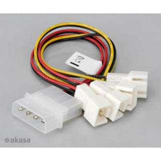 Akasa 4Pin Molex - 3Pin Fan Bağlantı Kablosu Dönüştürücü/Çoğaltıc