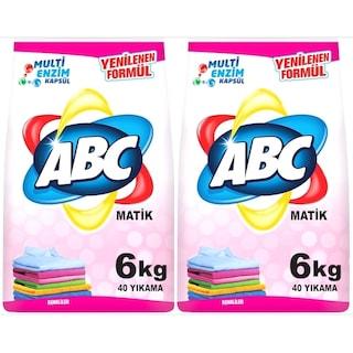 ABC Matik Toz Çamaşır Deterjanı Renkliler İçin 40 Yıkama 2 x 6 KG