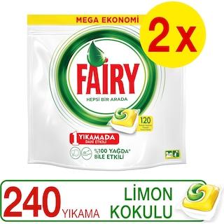 Fairy Hepsi Bir Arada Bulaşık Deterjanı Kapsülü Limon 240 Yıkama