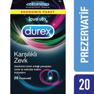 Durex Karşılıklı Zevk Prezervatif, 20'li Avantaj Paketi