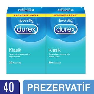 Durex Klasik Prezervatif, 40'lı Ekonomik Avantaj Paketi