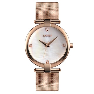 Skmei 9177 Rose Gold Kadın Kol Saati Lüks Hasır Kordon Şık Saat