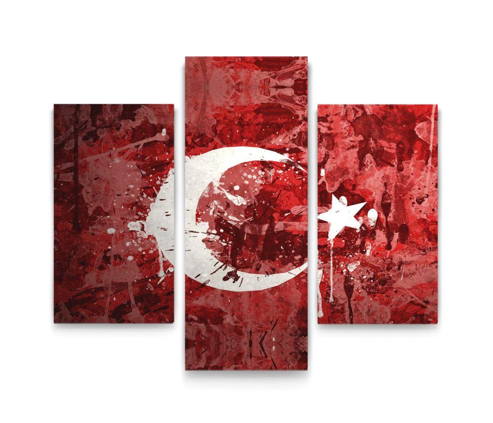 Türk Bayrağı 3 Parça Kanvas Tablo Dikey,120 X 80 Cm