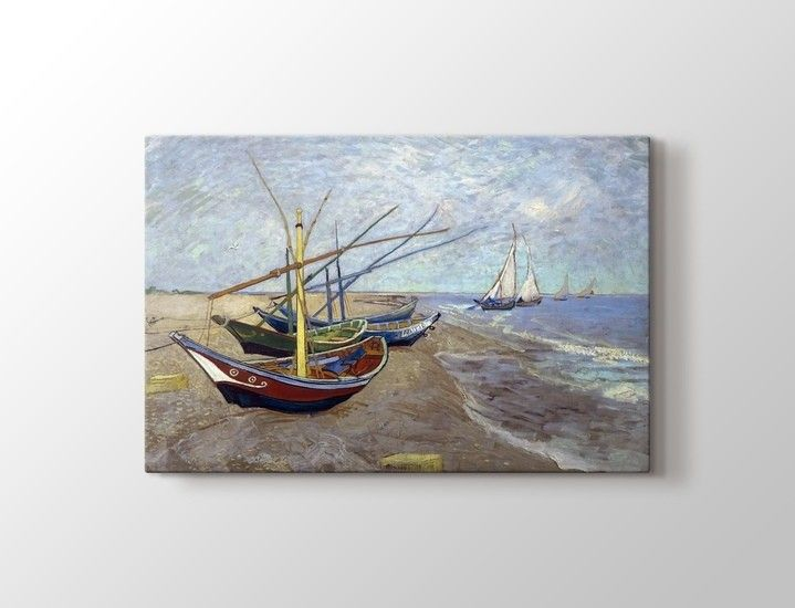 Vincent van Gogh - Fishing Boats on the Beach at Saintes Maries Tablo