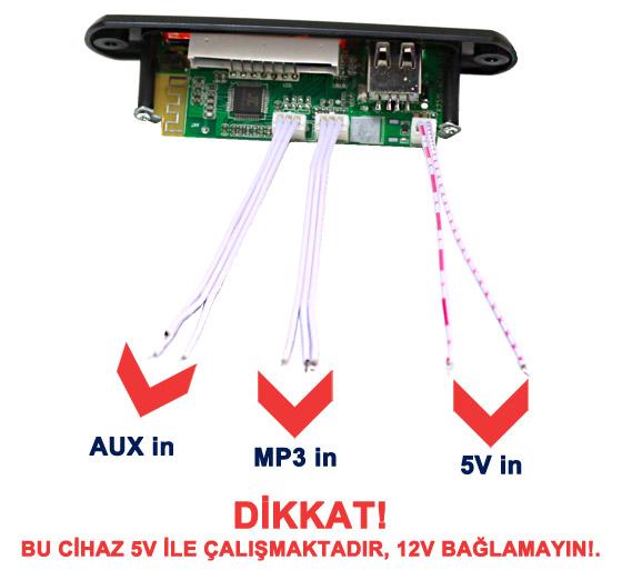 Oto Digital Player Bağlantı Şeması